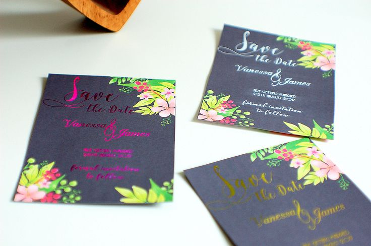 Save the date wedding cards, floral save the date, foiled wedding, black cards, wedding notice, we are getting married, date reminder by TPDWeddingStationery on Etsy