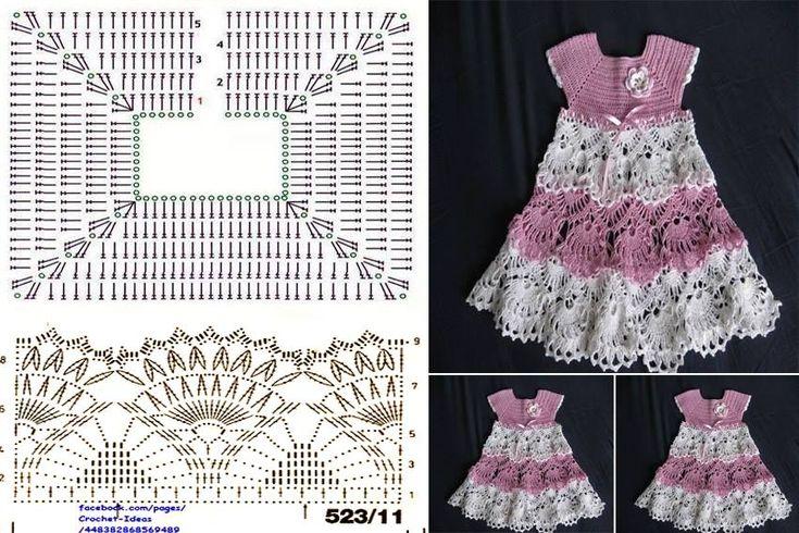 crochet para bebes vestidos patrones gratis - Buscar con Google