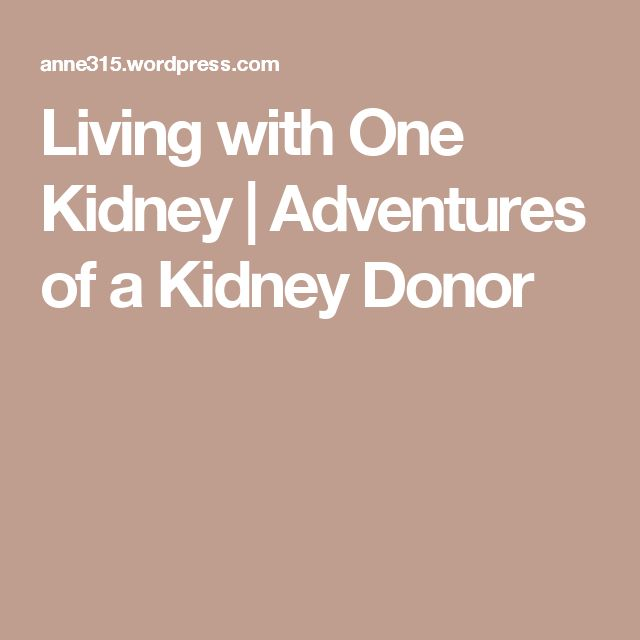 Living with One Kidney | Adventures of a Kidney Donor