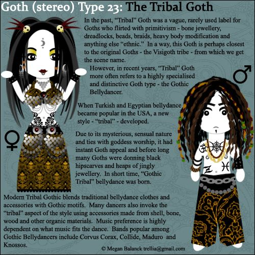 "Goth:  #Signs & #Sorts ~ ""#Goth Type 23: The Tribal Goth,"" by Trellia, at deviantART."