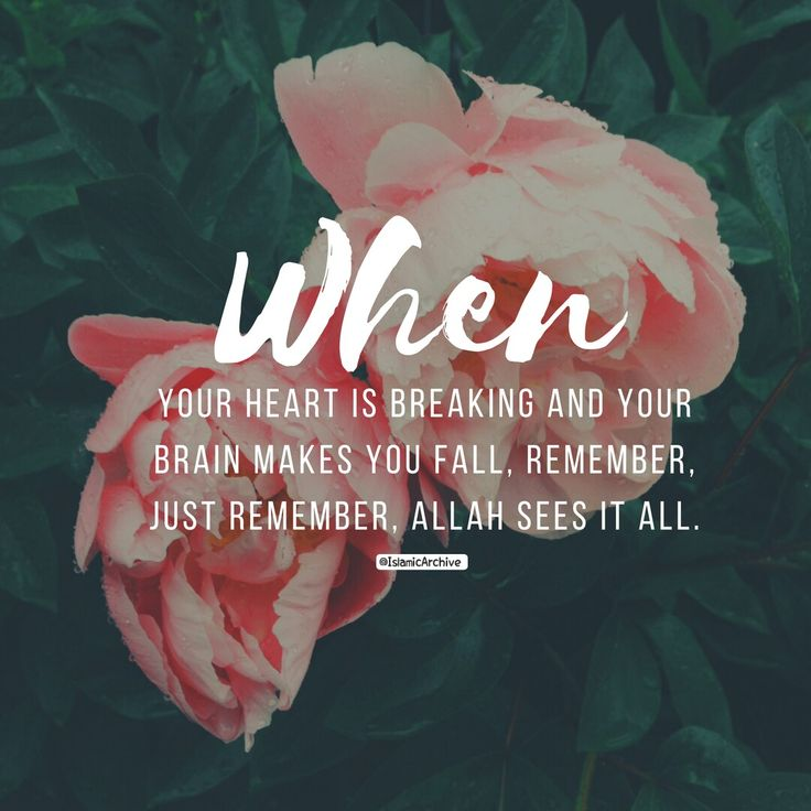 """When your heart is breaking and your brain makes you fall. Remember, just remember, Allah sees it all."""