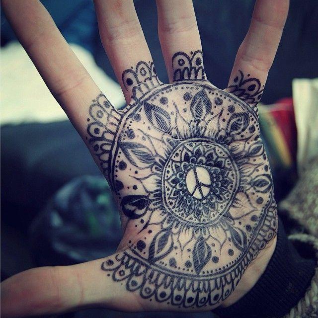 25 Awesome Hand Tattoo Designs: Hand Mandala Tattoo Would Be Awesome!