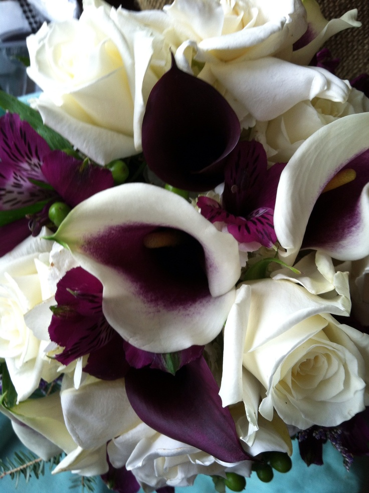 Plum and Cream Flowers for Bride - Roses, Calla Lilies, Alstroemeria, known as Peruvian Lilies, Approx. 21H x 12W