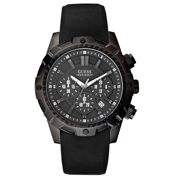 GUESS Chronograph Black Rubber Strap  195€  http://www.oroloi.gr/product_info.php?products_id=29264