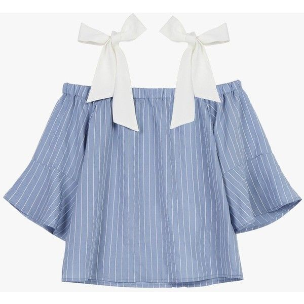 Blue Striped Tie Blouse ($79) ❤ liked on Polyvore featuring tops, blouses, light blue, stripe top, tie-neck blouses, blue stripe blouse, light blue top and blue blouse