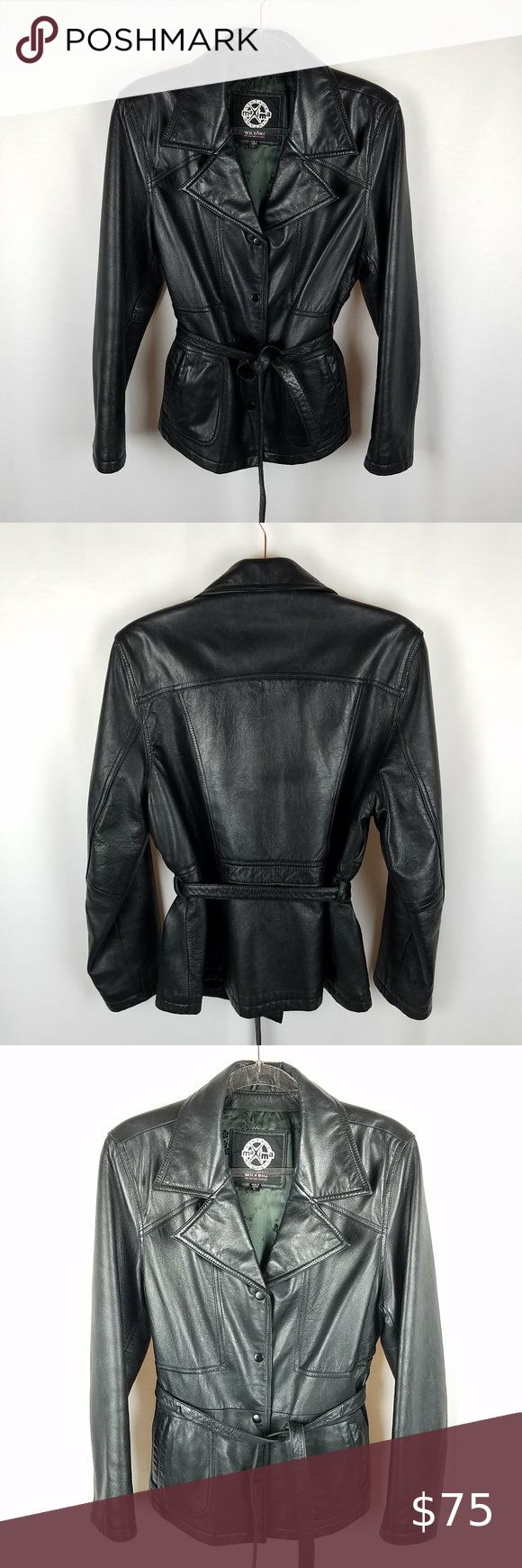 Wilsons Leather black snap front belted jacket L Wilsons