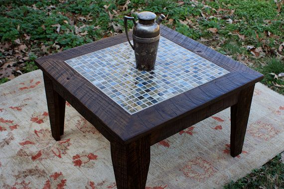Small coffee table tile mosaic reclaimed wood rustic for Small rustic wood coffee table