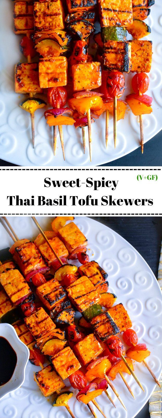 Sweet-Spicy Thai Basil Tofu Skewers: delicious and juicy skewers are vegan, glutenfree and made using a fingerlicking sweet-spicy Thai-basil homemade sauce.