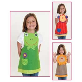Jungle Friends Child Apron Pattern $8.98 Choose between a frog, monkey or lion design. Includes child sizes 3-8. Check out the Fun Friends and Farm Friends aprons, too.