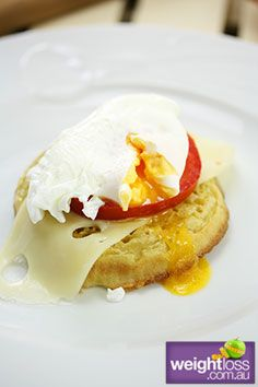 Crumpet with Poached Egg, Cheese & Tomato. #HealthyRecipes #DietRecipes #WeightLossRecipes weightloss.com.au