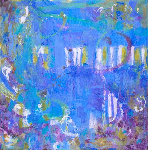 Large abstract painting blue white giclee by MarilionFineArt