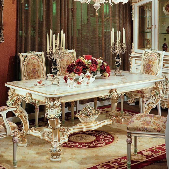 Antique Baroque Dining Table Set Furniture With Dining Chairs