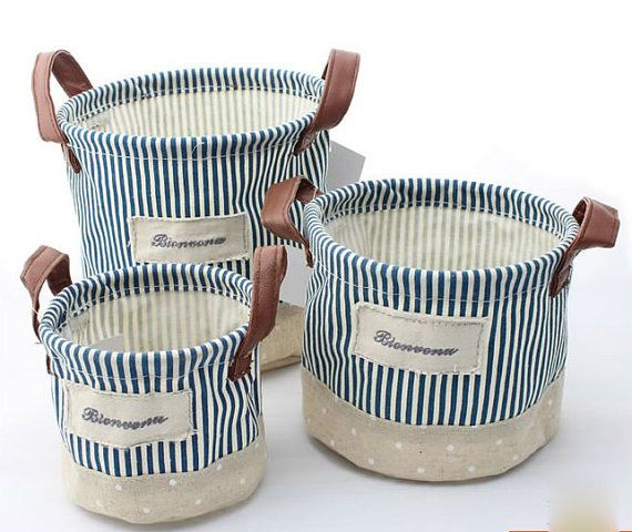 3pc Blue Strip Cotton Linen Storage DiaperBaskets, PE Water Proof Pants Storage Buckets,Toys Storage Baskets