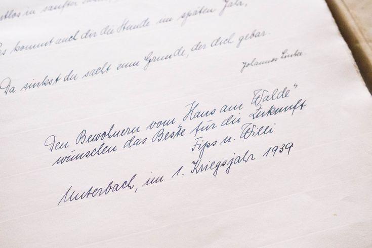 Gästebucheintrag von einem Haus aus den 30er Jahren in Düsseldorf-Unterbach