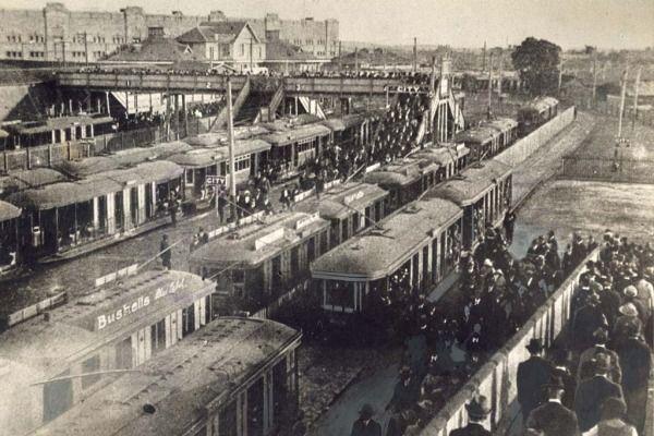 Trams at Randwick racecourse.