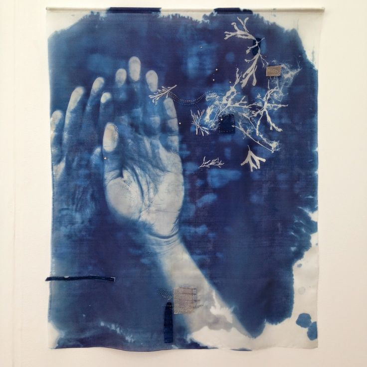 Hannah Lamb will be running workshops at Saltaire Arts Trail.  Book here: http://www.saltaireinspired.org.uk/hannah-lamb-making-threads/ Baptism, 2014 Silk, cyanotype, stitch  @hannahjanelamb
