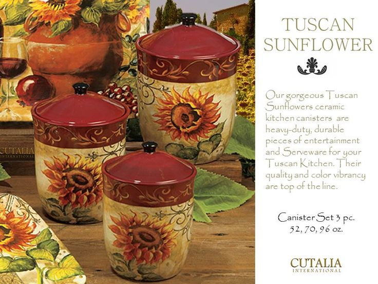 Tuscan Sunflower Kitchen Canister Set 3 Kitchen Pinterest Canister Sets Kitchen Canisters