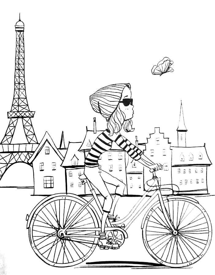 Revista Vida simples colorir - adult coloring pages Paris bike