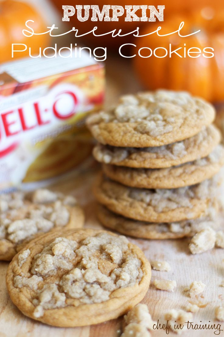 Pumpkin Streusel Pudding Cookies - One of my new favorite fall recipes! These cookies are so soft and delicious!