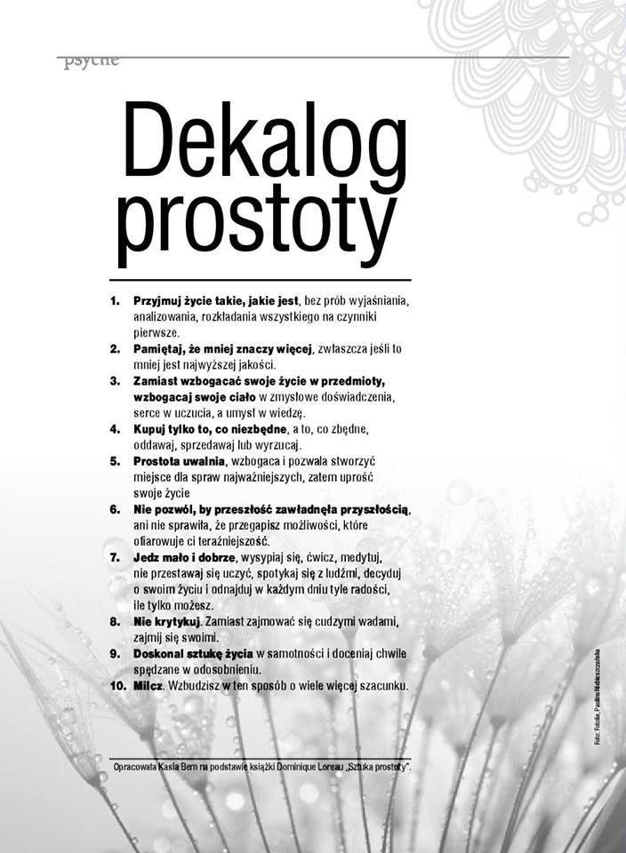 dekalog prostoty