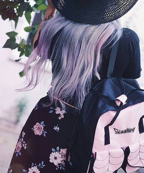 Pastel Pink Urban Backpack / Leaf Hipster Backpack /