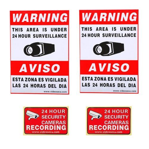 """VideoSecu 2 large (11.5x8.3"""") and 2 small (3x2"""") security warning signs stickers Decals for Home CCTV DVR CCD Video Surveillance Camera System 1RN -- You can find more details by visiting the image link."""