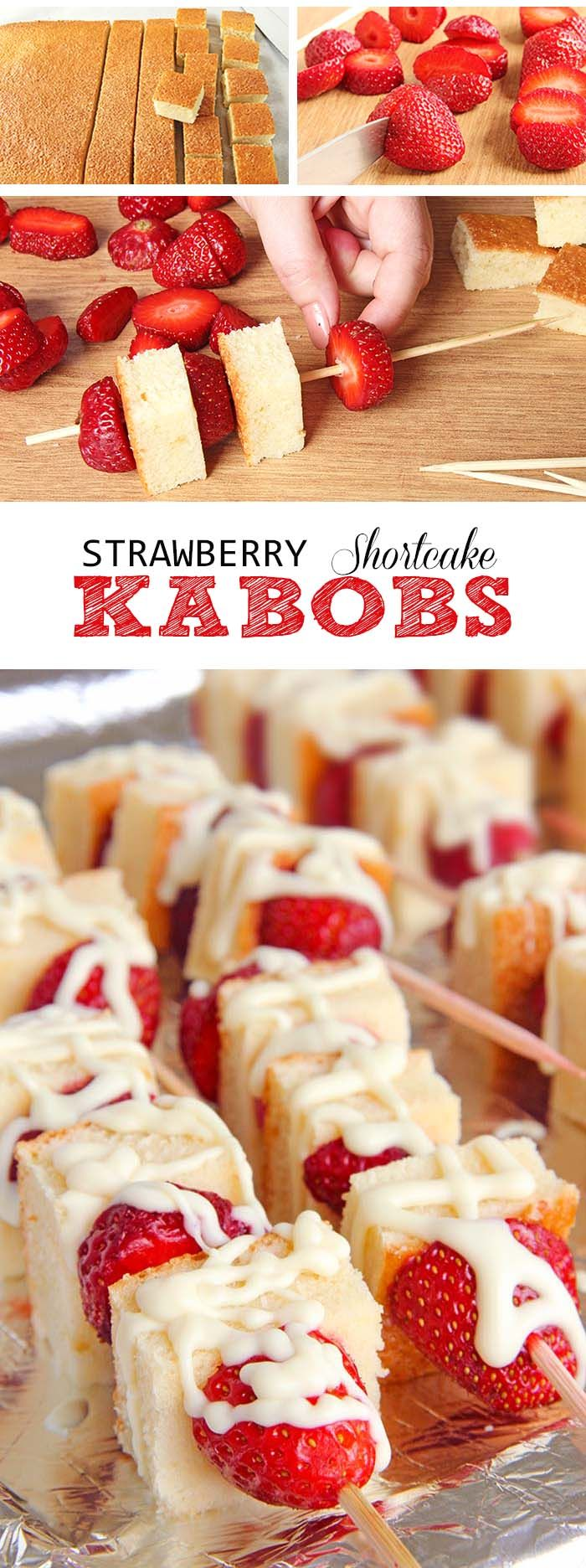 This strawberry Shortcake kabobs.  stick shortcake cubes and fruit on a skewer, drizzle with white chocolate.