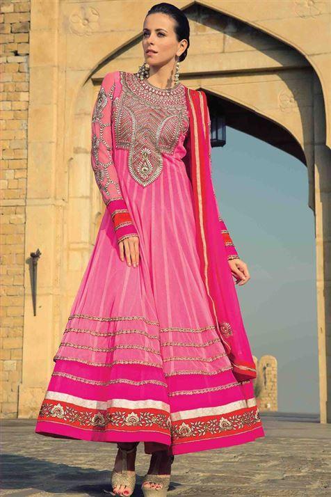 Hot Pink Net Ankle Length Anarkali Suit