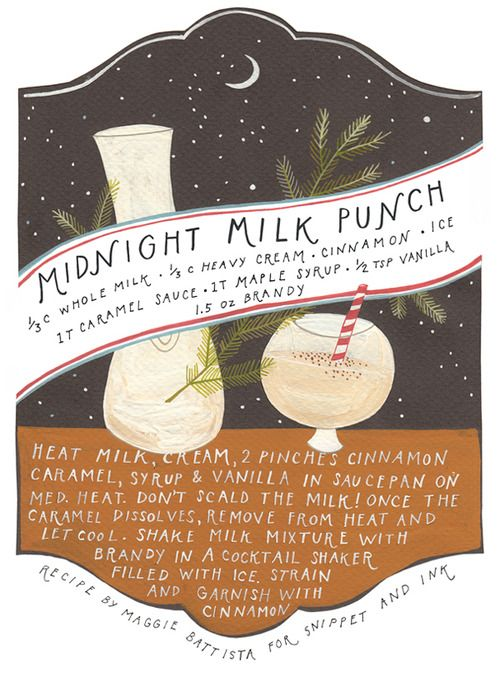 midnight milk punch: illustrated cocktail recipe