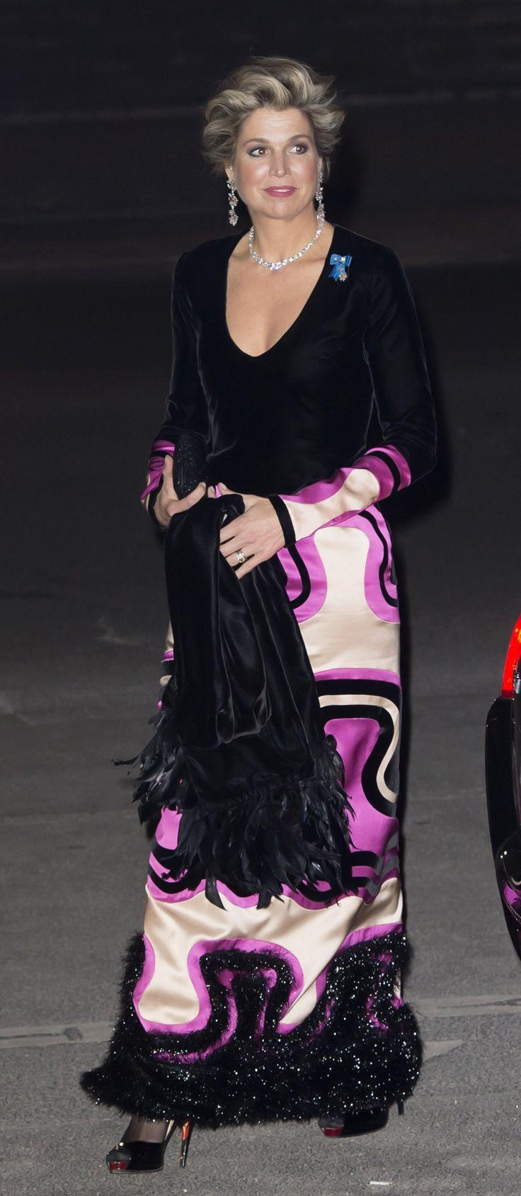Maxima in avondkleding van Tom Ford tijdens staatsbezoek Frankrijk maart 2016