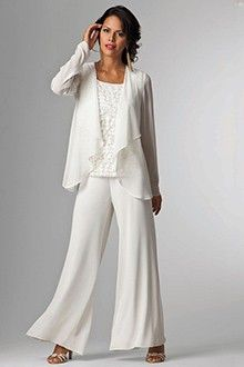 3 Pieces Mother Of The Bride Dresses Long Sleeves Pants Chiffon Wedding Guest Gowns Formal Prom