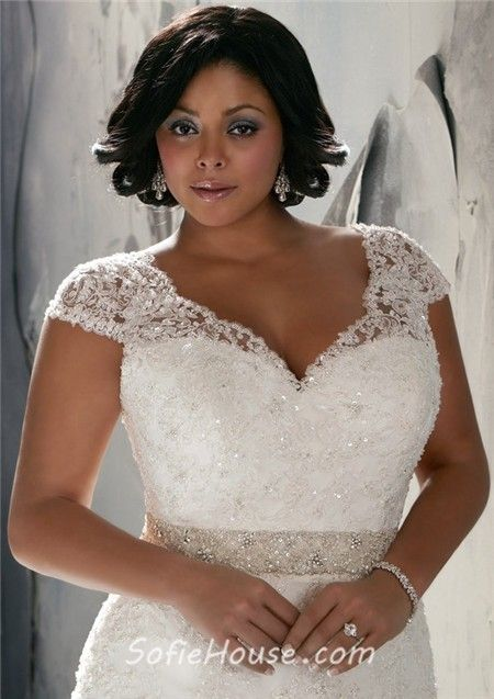 Vintage Wedding Dresses Plus Size Women | ... Sleeve V Neck Organza Lace Beaded Plus Size Wedding Dress With Buttons