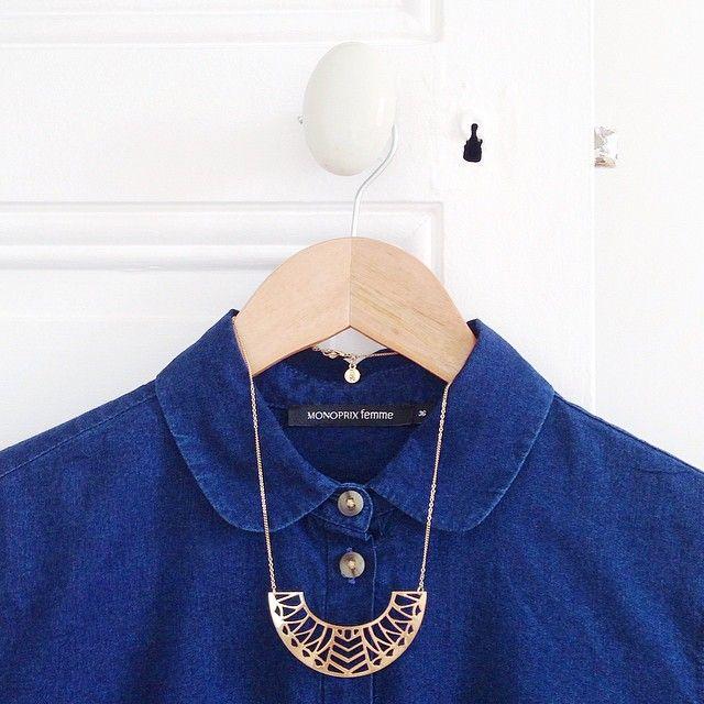 La nouvelle parfaite petite chemise en jean @monoprix  Et mon collier fétiche…