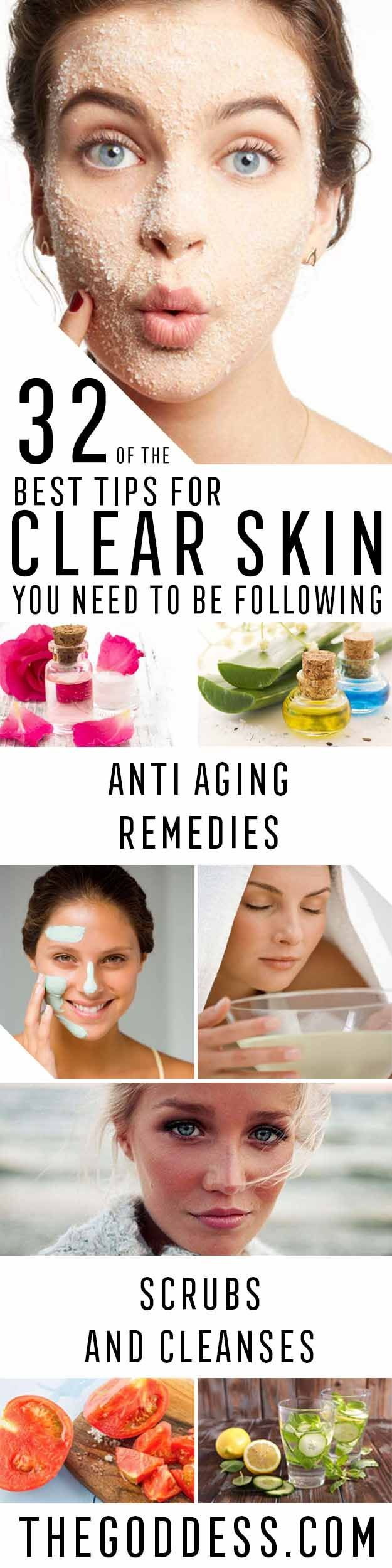 Best Tips for Clear Skin You Need To Be Following - Check Out These Step By Step Tips and Tricks For Clear Skin.  Are You Looking for Tips For Acne Scars or Home Remedies or Products For Beauty and Skincare?  These Are The Best Ideas And Tutorials For How To Use Essential Oils, Facials, and Cleansers to Get Clear Skin.  These Cover Blackheads, Acne Scars, And Big Pores and They Are All DIY - thegoddess.com/best-tips-clear-skin