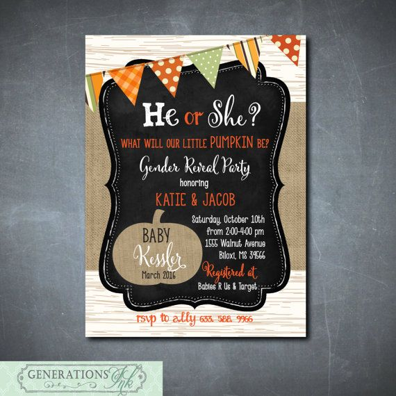 Fall Gender Reveal Party InvitationLittle by GenerationsInk