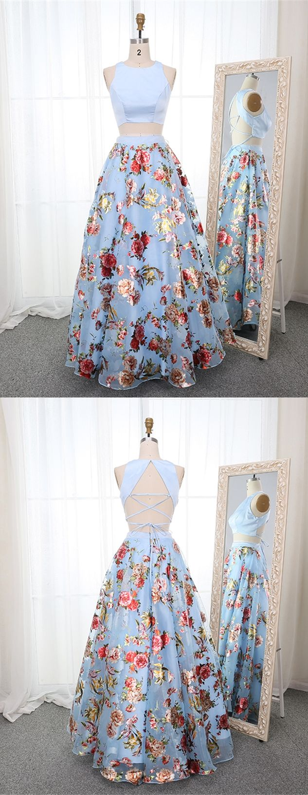 two piece light blue printed prom dresses, pricess floral graduation party gowns... 2