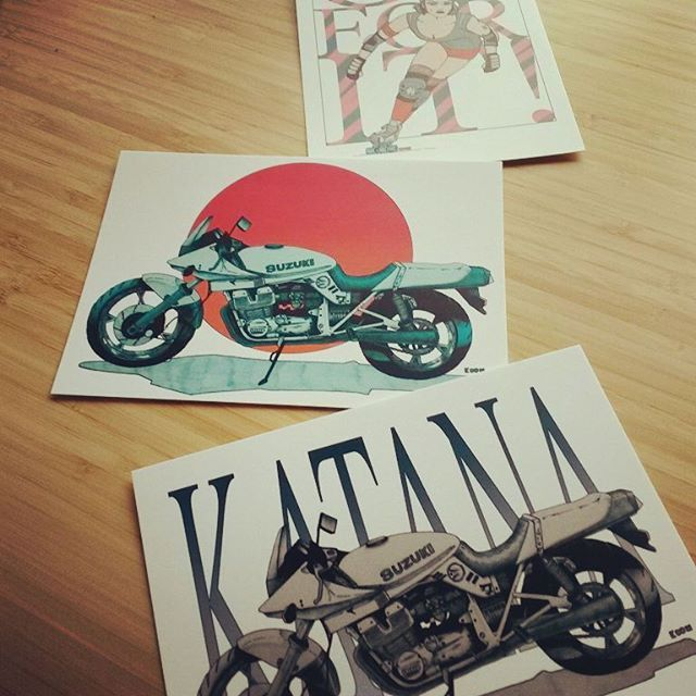 The postcards are here!  #art #instaart #illustrator #illustration #postcards #suzuki #katana #rollerderby  #drawing +creationsofkoon