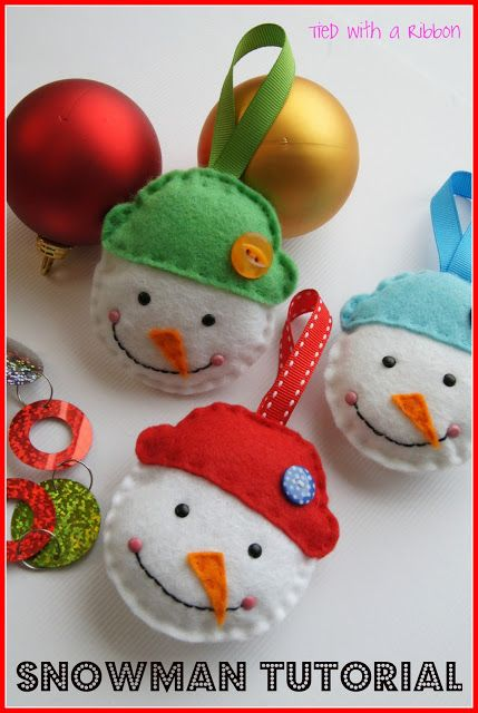DIY:: Tied with a Ribbon: Snowman Ornament Tutorial