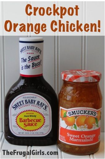 Crockpot Orange Chicken Recipe    4 - 5 Boneless Skinless Chicken Breasts  3/4 cp Orange Marmalade   3/4 cp BBQ Sauce  2 tbsp. Soy Sauce    Cook chicken in crock pot on high for 3 hours {covered}. After 3 hours, drain juices from crockpot.  Mix together BBQ sauce, orange marmalade and soy sauce.  Pour mixture over chicken, cover and cook on high for 30 more minutes.