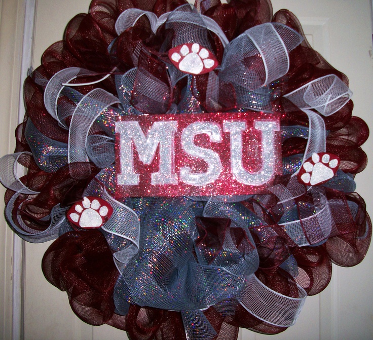 Mississippi State Mesh Wreath by micmacms on Etsy, $47.00