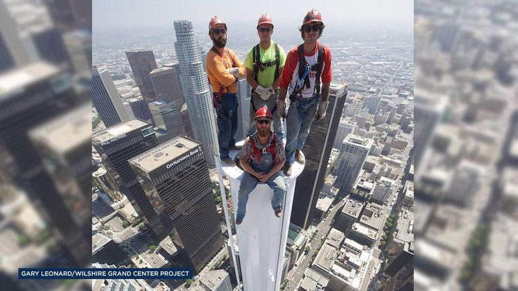 PHOTO: Workers pose for picture atop Wilshire Grand Tower in Los Angeles | 6abc.com