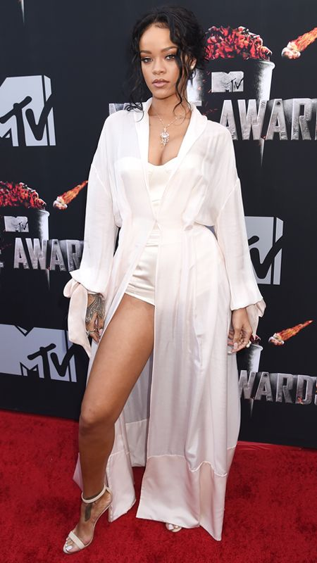 MTV Movie Awards 2014 Red Carpet - Rihanna from #InStyle.  RIHANNA Rihanna in an Ulyana Sergeenko ensemble, Ana Khouri pearl ear cuff, and Vieri necklace and rings.