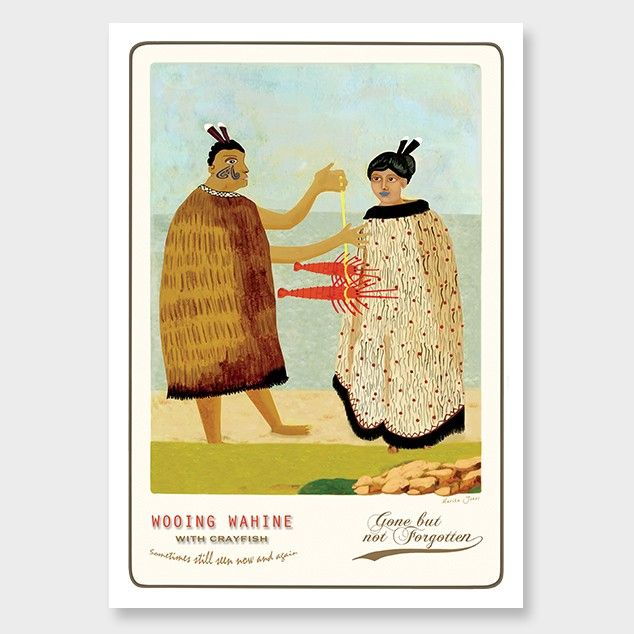 Wooing Wahine With Crayfish Art Print by Marika Jones NZ Art Prints, Design Prints, Posters & NZ Design Gifts | endemicworld