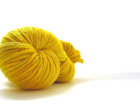 Cormo Hand Dyed Yarn 10ply aran  Egg Yolk  100g 3.5oz by msgusset, $32.00