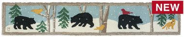 Black Bear Mural 1'X6' Hooked Wool Hearth Rug