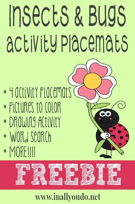 Insects & Bugs Activity Placemats FREEBIE