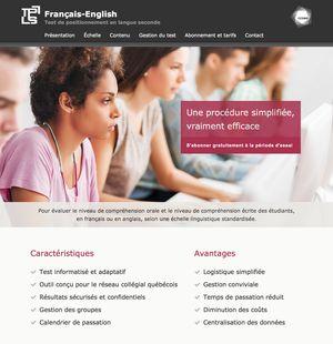 TPLS Français-English: site web du CCDMD (Centre collégial de développement de matériel didactique), un centre de production de ressources informatisées et de documents imprimés conçus à l'intention du personnel enseignant et des élèves de l'ensemble du réseau collégial du Québec (Canada). Le test de positionnement en langue seconde (TPLS) est un test informatisé et adaptatif évalue le niveau de CO et CE des étudiants, en français ou en anglais.