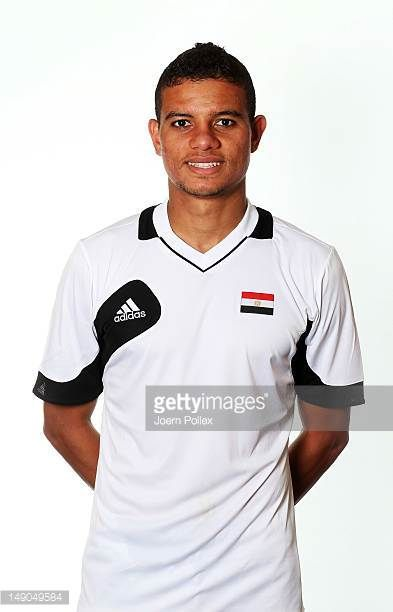Saadeldin Saad of the Egypt Men's Olympic Football Team at the Hilton Hotel on July 22 2012 in Cardiff Wales