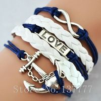 Женская мода браслет браслеты старинные якоря руль прямоугольник кожаный браслет многослойные браслеты горячих браслеты