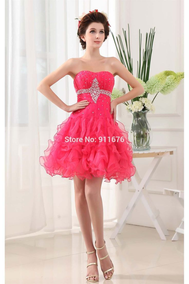 Sexy Pleats Cocktail Party Dresses Sleeveless Organza Sweetheart Neck Backless Short Mini Homecoming Dress Beading Ruffles 2017